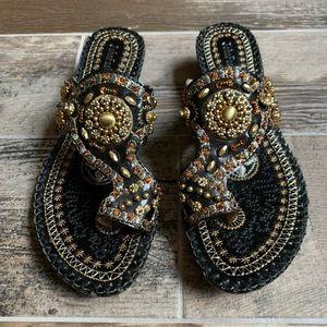 John Fashion Black Beaded Sandals